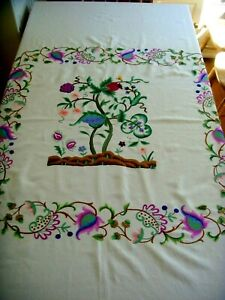 Vintage Hand Embroidered Large Silk Linen Jacobean Flora Tablecloth Bedspread