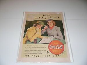 Vintage ad COCA COLA 1940 Pause and Shop Refreshed 2 women pictured