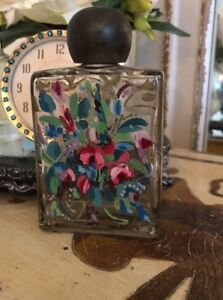 Antique Vintage Gilded Perfume Bottle Hand Painted Roses Gorgeous