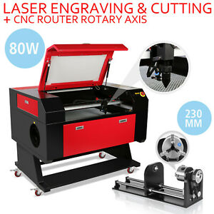 80w Co2 Laser Engraving Cutter Kit Rotary A axis 230mm Track W Stand Cutting