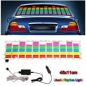 Car Sticker Music Sound Activated Led Light Equalizer Glow Colorful 45x11cm