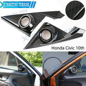 Carbon Fiber Style Car Door Stereo Speaker Cover For 10th Honda Civic 2016 2020