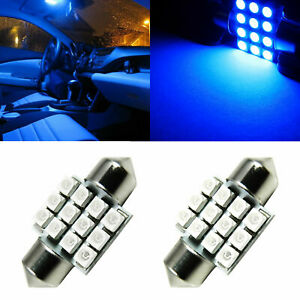 2x Ultra Blue 12 Smd Festoon For Interior Dome Led Light Bulbs De3175 3021 6428