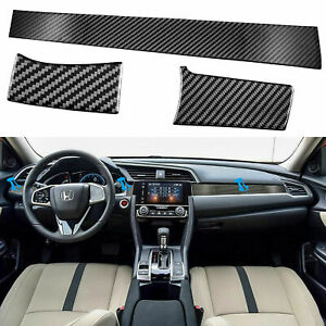 Carbon Fiber Center Dashboard Console Cover Trim Sticker For Honda Civic 2016 19