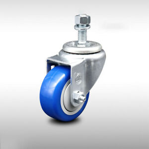 Ss Poly Swvl Threaded Stem Caster W 3 5 Blue Wheel And 1 2 Stem 250 Lbs caster