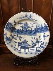 17th 18th C Large 39 5cm Chinese Blue And White Porcelain Charger Kangxi Mark
