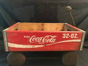Wooden Wood Red Coca-Cola Coke Soda Pop Bottle Crate Box Wagon 32 Oz Displayed