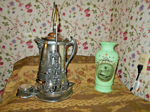 Wm Rogers Silverplate Chased Tilting Water Pitcher W Stand Antique Victorian