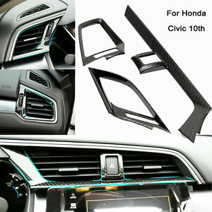 Carbon Fiber Style Dashboard Air Vent Cover Case For Honda Civic 10th 2016 2020