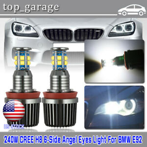 Cree 240w Total H8 Led Angel Eyes Halo Ring Light Bulbs 6000k Waterproof For Bmw