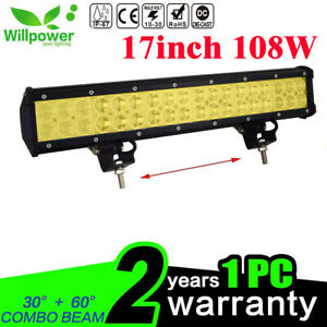 Amber 18inch 108w Led Work Light Bar For Off Road Jeep Suv Car Driving Fog Lamp