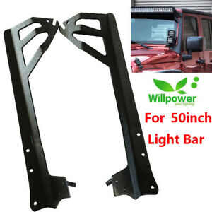 Wrangler Jk Windshield Mounting Bracket For 50inch Led Light Bar Offroad Jeep
