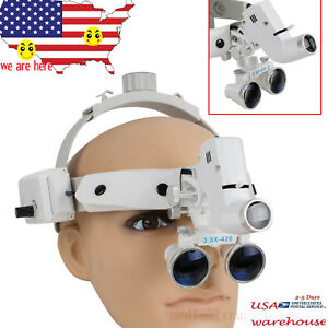 3 5x Dental Headband Binocular Loupes Surgical Glasses Led Head Light Lamp