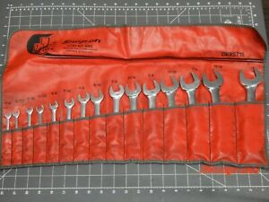 Snap On Sae Short Combination Wrench 15pc Set 1 4 1 12pt Oexs715 Underlined Logo