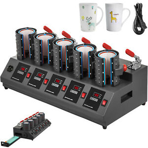 5 In 1 Digital 5 Cup Mug Heat Press Machine Commercial Batch Printing Adjustable