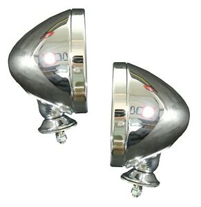 Pair New Chrome Spun Raydot Style Racing Mirror Convex For Ford Mustang Gt40 Ac