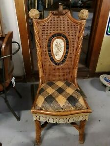 Mackenzie Childs Wicker Back Chair