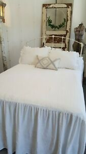 Vintage Cream Ivory Iron Bed Full Size Headboard With Rails French Farmhouse