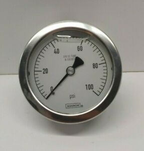 New Old Stock Noshok 2 5 316 Ss Tube socket 0 100 Psi Pressure Gauge 25 510 100