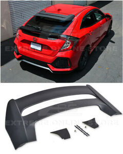 For 16 Up Honda Civic Fk4 Fk7 Hatchback Jdm Mugen Style Rear Roof Wing Spoiler