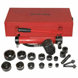 10t 6 Dies Hydraulic Knockout Punch Hand Pump Hole Tool Driver Kit W Metal Case