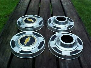 Vintage 73 87 Chevy 4x4 Dog Dish Hubcaps For Pickup Truck Set Of 4