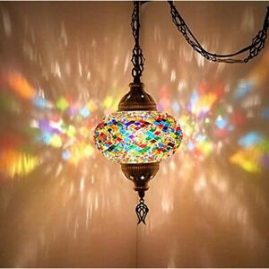 Pendant Lights 8 Colors Turkish Moroccan Mosaic Swag Plug In Ceiling Hanging