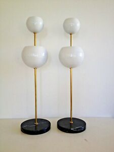 Pr Stilnovo Arteluce 2 Globe Ball Table Lamps Marble Base Deco Mid Century Eames