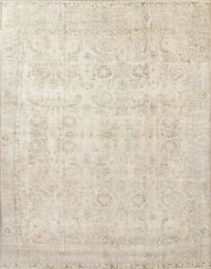 Antique Persian Area Rug Hand Knotted Wool Oriental Distressed Carpet 9 X 11