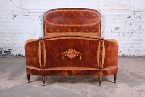 1930s French Art Deco Burl Wood And Inlaid Marquetry Full Size Bed Frame