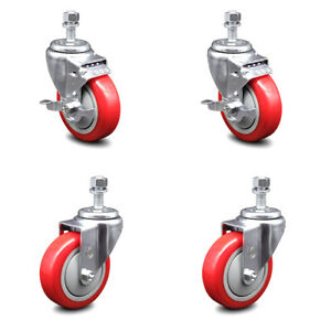 Poly Swvl Ts Caster Set Of 4 W 4 Red Wheels And 1 2 Stems 2 W brake