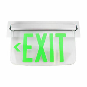Dual Lite Hubbell Lewsglna Le Series Edge lit Led Exit Sign Wall Mount Green
