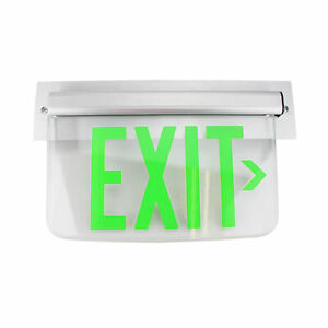 Dual Lite Hubbell Lewsgrna Le Series Edge lit Led Exit Sign Wall Mount Green