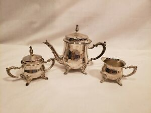Vintage Silver Plate 3 Piece Small Tea Set Child Sized Unmarked 5 Inch Pot