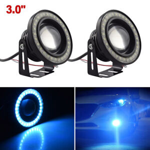 2x Ice Blue Angel Eye Led Cob Drl Halo Ring Projector 3 5 Fog Driving Light Usa