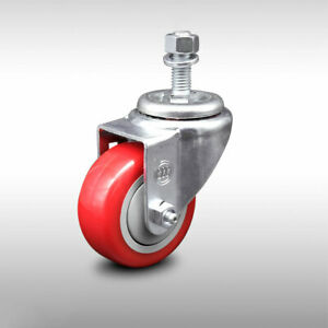 Ss Poly Swvl Threaded Stem Caster W 3 Red Wheel And 1 2 Stem 250 Lbs caster