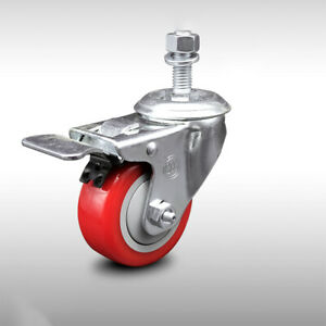 Ss Poly Swvl Threaded Stem Caster W 3 Red Wheel And 1 2 Stem Total Lock Brk