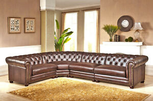 Best New Chesterfield Top Grain Brown Leather 4 Section Sofa Rh Quality