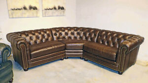 New Chesterfield Top Grain Leather 3 Section Sofa Restoration Hardware Quality