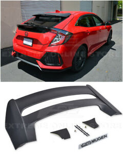 For 16 up Honda Civic Hatchback Mugen Style Rear Roof Wing Spoiler Black Emblem