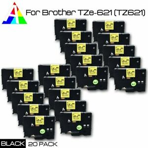 20pk Tze 621 Black On Yellow Label Tape For Brother P touch Tz 621 Pt d450 3 8
