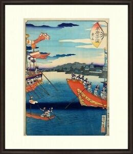 1865 Edo Era Japan Antique Woodblock Print Boat Ukiyoe By Yoshitoshi Frame