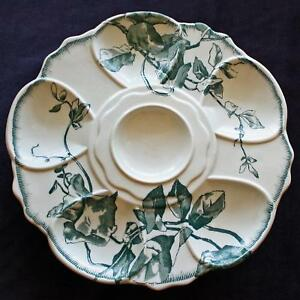 Antique Aesthetic French Oyster Plate Teal Transferware By Jules Vieillard