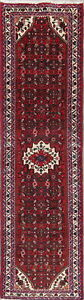 Wool Hamedan Persian Geometric Carpet Oriental Hand Knotted Runner Rug 3x9