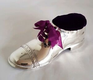 George V Sterling Silver Novelty Pin Cushion Fashioned As A Brogue Shoe