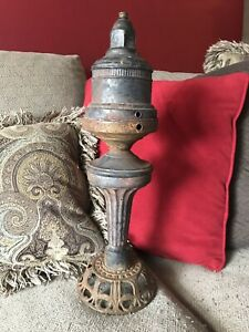 Antique Pot Belly Parlor Stove Metal Cast Iron Finial Steam Punk