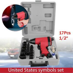 17pc 1 2 Twin Hammer Air Impact Wrench Gun Set W Sockets Us Adapter Case New