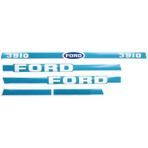 Ford Tractor Light Blue White Hood Decal Kit 3910 Year 1965 Or Later
