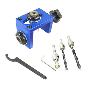 Woodworking Hole Locator Punch Positioner Jig Kit With Step Drilling Bit Set