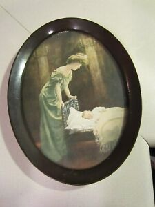 Vintage Oval Frame Print Victorian Mother Watching Baby Sleeping